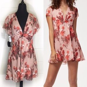 Aritzia Talula V Deep Blush Floral Pattern Dress